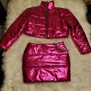 2 piece magenta metallic, skirt and coat outfit